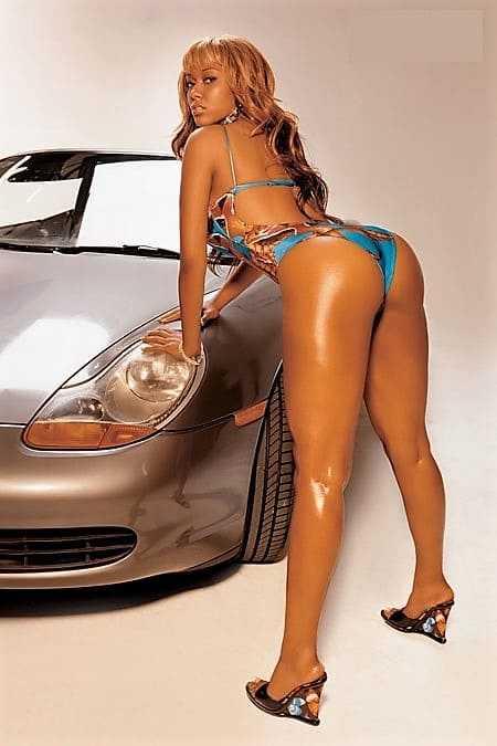 Sexy mulatto girl in a bikini hot ass