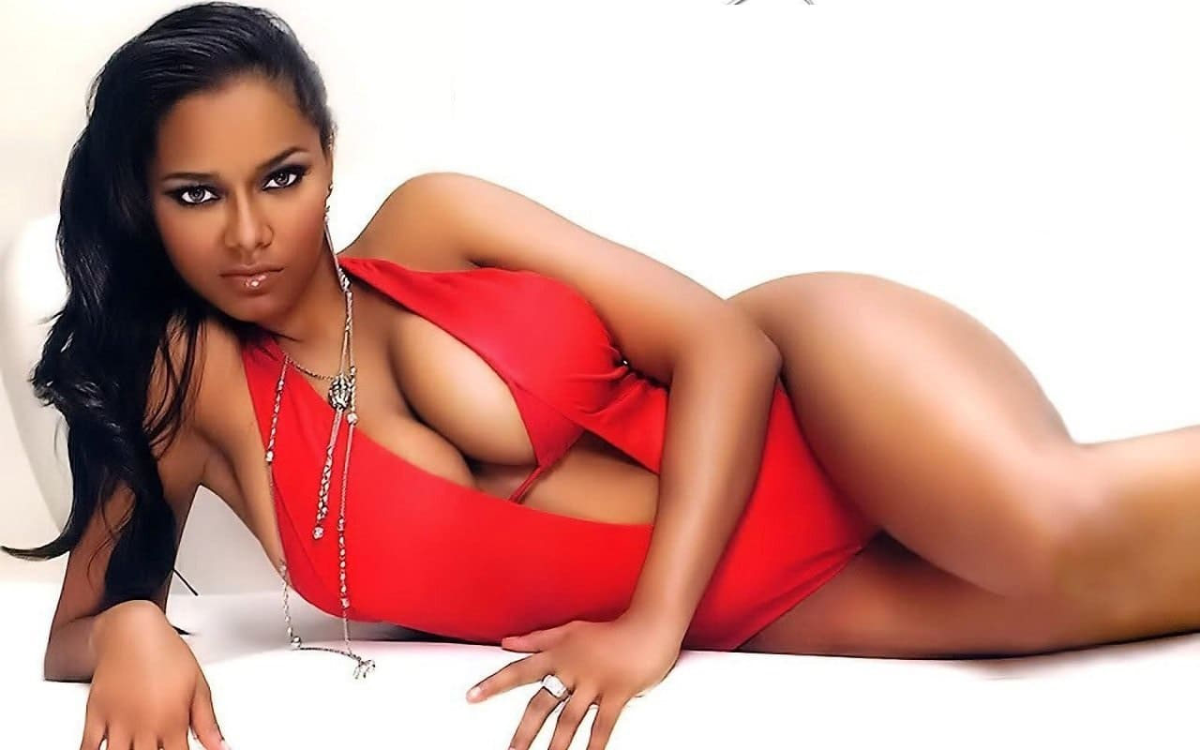 Very sexy black girl in a bikini with big tits and a cool figure