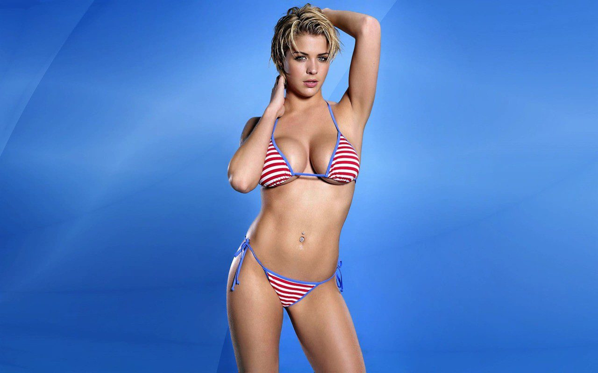 Hot white beauty girl in bikini