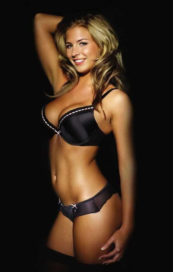 Beautiful blonde girl in a bikini with a sexy photo body