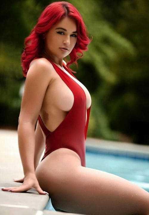 Sexy bikini girl with big boobs
