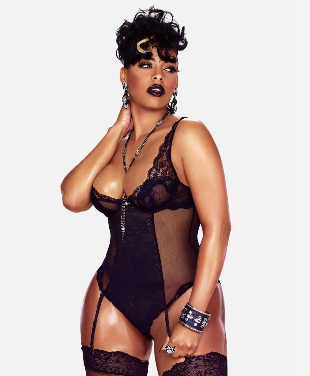 Sexy black girl in beautiful underwear