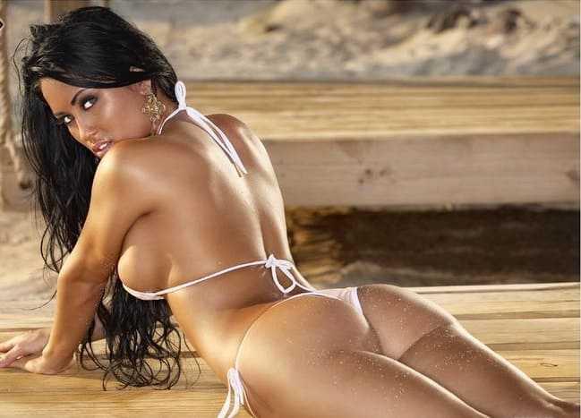 Sexy hot mulatto girl in a bikini