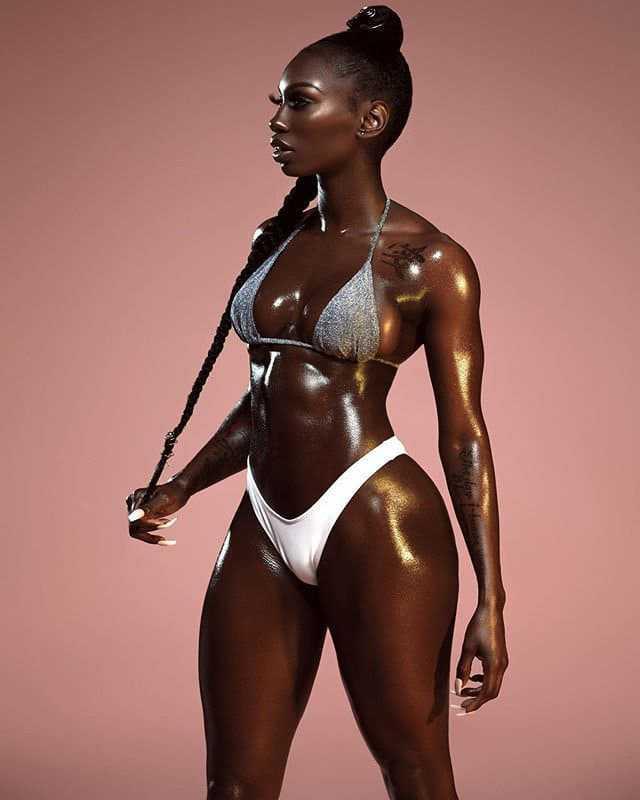 Black girl in a bikini with a beautiful figure