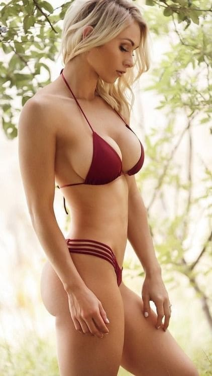 Hot blonde girl with a sexy figure and in a bikini