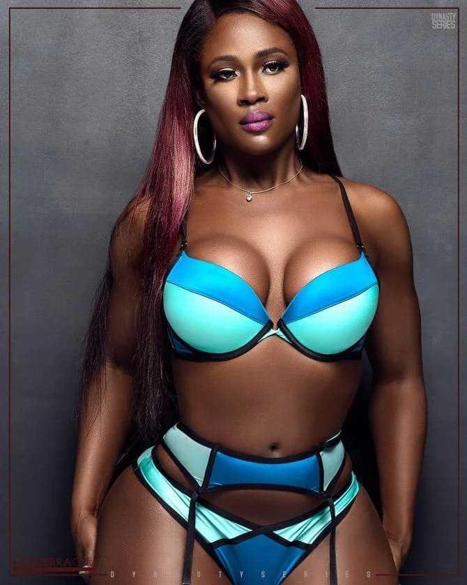 Sexy black woman in beautiful underwear, big boobs, big ass