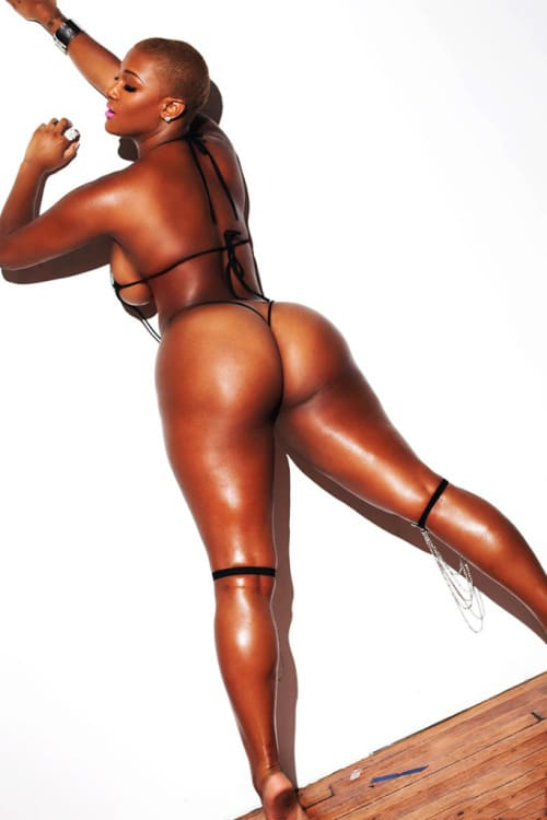 Sexy black woman with a delicious ass in a bikini.